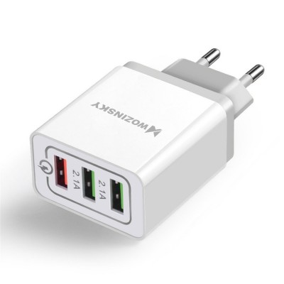 Wozinsky fast wall charger adapter Quick Charge QC 3.0 3x USB 30W white (WWC-01) (200-105-472)