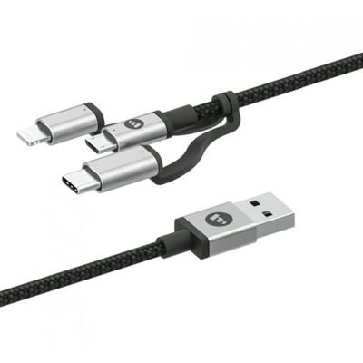 Mophie Καλώδιο Φόρτισης & Μεταφοράς Δεδομένων 3 in 1 USB σε Micro / Lightining / Type-C - 1m - Black (409903220)