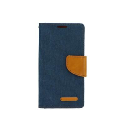 Θήκη-Πορτοφόλι Canvas Book για LG K10 μπλέ σκούρο