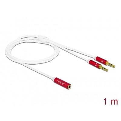 Delock Headset Adapter 3.5mm 4pin > 2 x 3pin F/M 1m (66524)