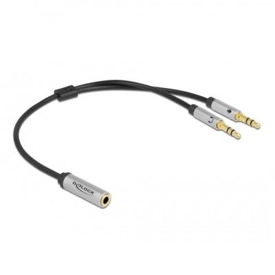Delock Headset Adapter 3.5mm 4pin > 2 x 3pin F/M CTIA (66740)