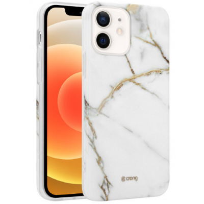 Crong Marble Θήκη Σιλικόνης Apple iPhone 12 / 12 Pro - White (CRG-MRB-IP1261-WHI)