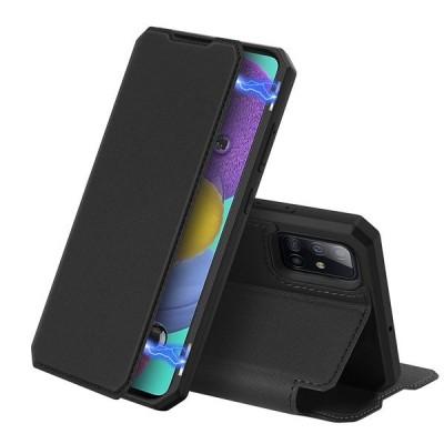 DUX DUCIS Skin X Wallet Case Θήκη Πορτοφόλι με Stand για Samsung Galaxy A51 - Black (200-105-978)
