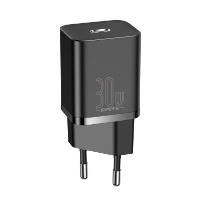Baseus Super Si Quick Charger 1C - Φορτιστής Ταξιδιού με Type-C x1 - 30W - Black (CCSUP-J01) (200-108-613)