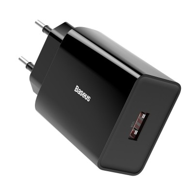 Baseus Fast Wall Charger USB 3A 18W (CCFS-W01) Φορτιστής Quick Charge 3.0 - Black (200-107-231)