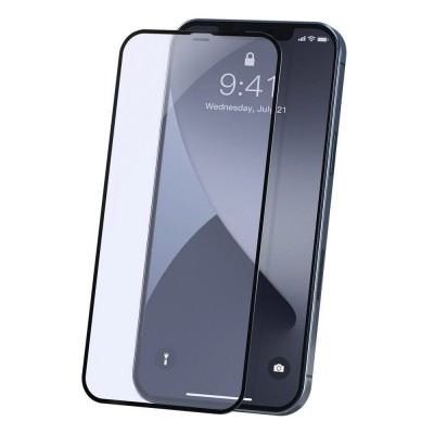 Baseus 2x Full screen 0,23 mm Anti Blue Light tempered glass with a frame iPhone 12 Pro / iPhone 12 Black (SGAPIPH61P-TE01) (200-108-605)