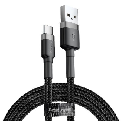 Baseus Cafule Cable Durable Nylon Braided Wire USB / USB-C QC3.0 2A 0.5M black-gray (CATKLF-AG1) (200-108-607)
