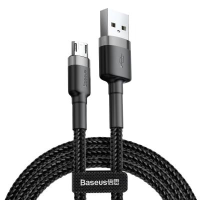 Baseus Cafule Durable Nylon Braided Καλώδιο USB / micro USB QC3.0 2.4A 1M  – Black/Grey (CAMKLF-BG1) - (200-105-586)