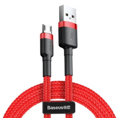 Baseus Cafule Durable Nylon Braided Καλώδιο USB / micro USB QC3.0 1.5A 2M – Κόκκινο (CAMKLF-C09) - (200-105-588) (Default)