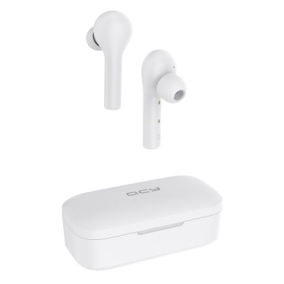 QCY T5 TWS White True Wireless Earbuds 5.0 Bluetooth Headphones  - Speaker φ6mm 70hrs (200-108-599)
