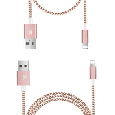 Dux Ducis K-TWO Series Set Καλωδίων USB σε Lightning 1m + 20CM – Rose Gold -  (200-104-692)