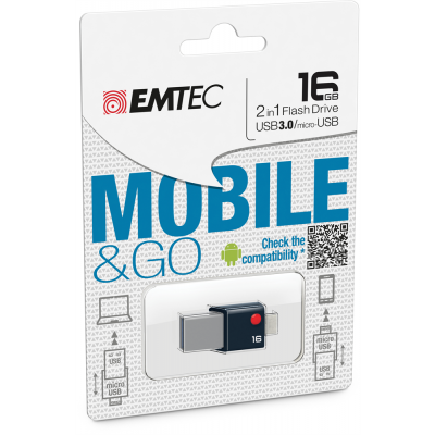 Emtec T200 Mobile & Go 2-in-1 USB 3.0 & micro-USB Flash Drive 16GB