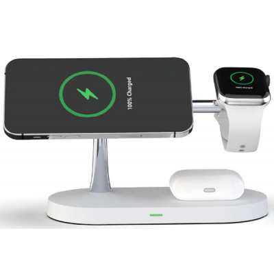 Tech-Protect A12 3 in 1 Wireless Charging Station - Βάση Ασύρματης Φόρτισης MagSafe για iPhone 12 / Airpods / Apple Watch - 15W - White (6216990211850)
