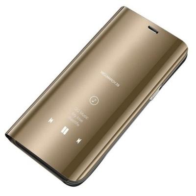 Θήκη Clear View Standing Cover για Samsung Galaxy J3(2017) χρυσό -OEM (200-103-366)