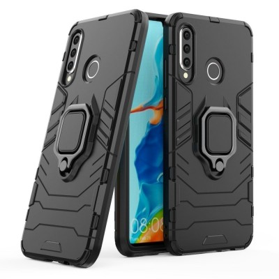 Ring Armor Case Kickstand Tough Rugged Cover for Huawei P30 Lite - Black (200-106-158)