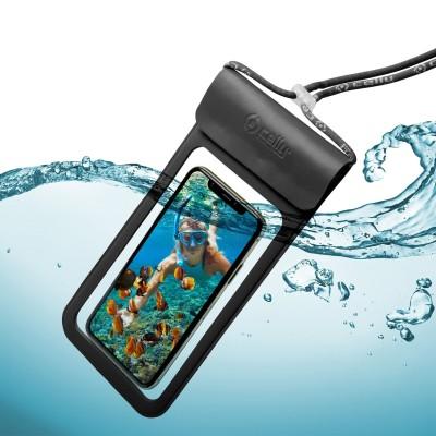 Celly Universal Αδιάβροχη Θήκη Πουγκί για Smartphones έως 6.5'' - IPX8 - Black (SPLASHBAG19BK)