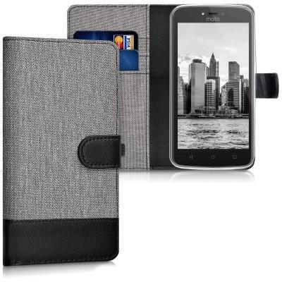Θήκη-Πορτοφόλι για Motorola Moto C γκρι by KW