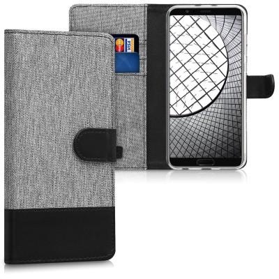 Θήκη-Πορτοφόλι για Huawei Honor View 10 γκρι-μαύρη