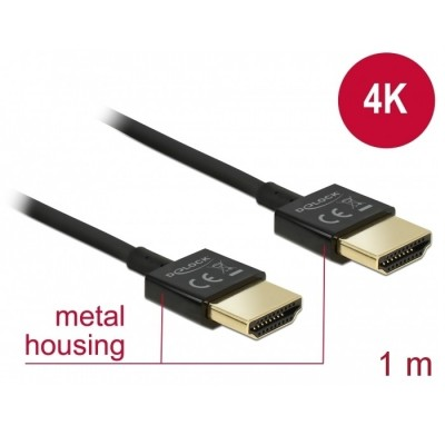 Delock Slim Cable HDMI w/Ethernet 3D 4K 1m (84771)