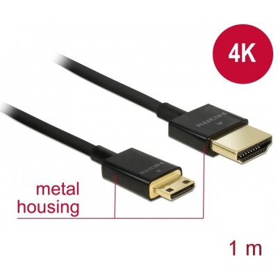 Delock Slim Cable HDMI > Mini HDMI 3D 4K 1m (84776)