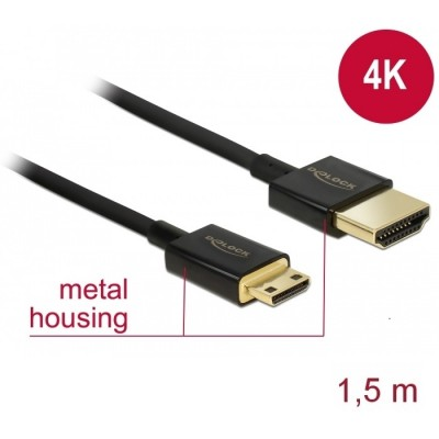 Delock Slim Cable HDMI > Mini HDMI 3D 4K 1.5m (84777)