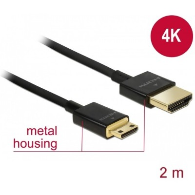 Delock Slim Cable HDMI > Mini HDMI 3D 4K 2m (84778)