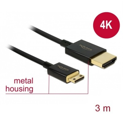 Delock Slim Cable HDMI > Mini HDMI 3D 4K 3m Active (84779)