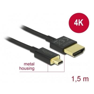 Delock Slim Cable HDMI > Micro HDMI M/M 3D 4K 1.5m (84782)
