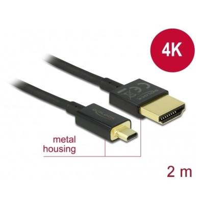 Delock Slim Cable HDMI > Micro HDMI M/M 3D 4K 2m (84783)