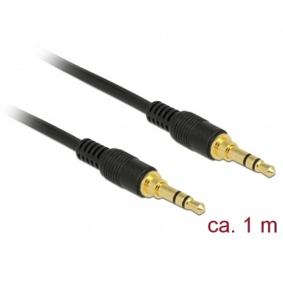 Delock Stereo Cable 3.5mm 3pin M/M 1m Black (85547)