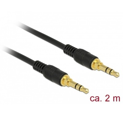 Delock Stereo Cable 3.5mm 3pin M/M 2m Black (85549)