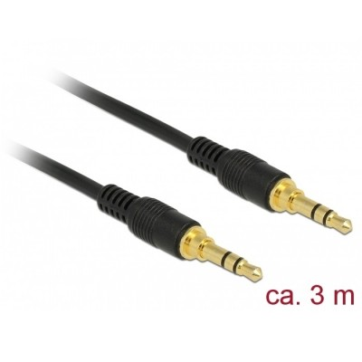 Delock Stereo Cable 3.5mm 3pin M/M 3m Black (85551)