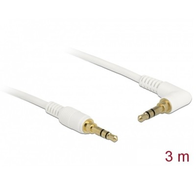 Delock Stereo Cable 3.5mm 3pin Angled 3m White (85571)