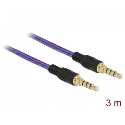 Delock Stereo Cable 3.5mm 4pin 3m Purple (85602)