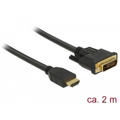 Delock HDMI > DVI-D 24+1 Bi-Directional Cable 2m (85654)
