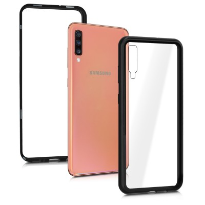 KW Samsung Galaxy A70 Θήκη -Tempered Glass Protective Full Body with Aluminum Frame - Black/Transparent  (200-104-232)