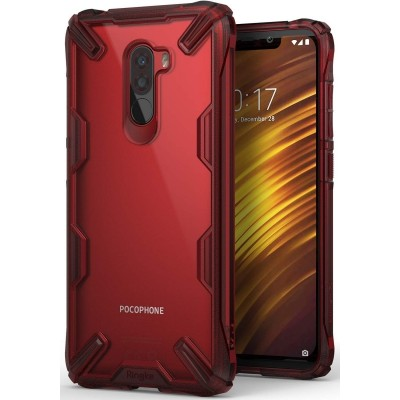Ringke Fusion-X Θήκη Pocophone F1 με TPU Bumper - Ruby Red