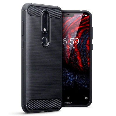 Terrapin Θήκη Σιλικόνης Carbon Fibre Nokia 6.1 Plus - Black