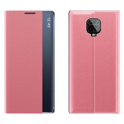 OEM New Sleep Flip Cover Case Θήκη με Ημιδιάφανο Παράθυρο Xiaomi Redmi Note 9 Pro / Redmi Note 9S - Pink (200-106-633)