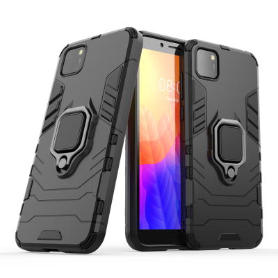Ring Armor Case Kickstand Tough Rugged Cover for Huawei Y5p - Black (200-106-639)
