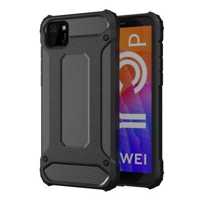 OEM Hybrid Armor Case Tough Rugged Cover for Huawei Y5p - Black (200-106-648)