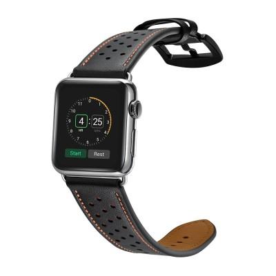 Δερμάτινο λουράκι μαύρο για Apple Watch 1/2/3 42mm by Tech-Protect