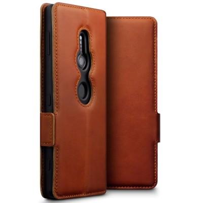Terrapin Low Profile Δερμάτινη Θήκη - Πορτοφόλι Sony Xperia XZ2 - Cognac