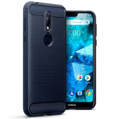 Terrapin Θήκη Σιλικόνης Carbon Fibre Nokia 7.1 - Blue