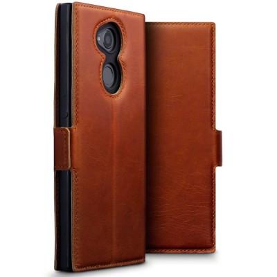 Terrapin Low Profile Δερμάτινη Θήκη - Πορτοφόλι Sony Xperia XA2 Ultra - Cognac
