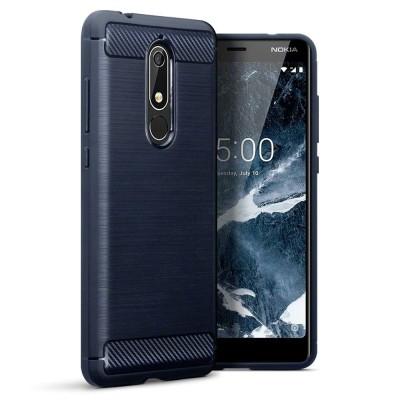 Terrapin Θήκη Σιλικόνης Carbon Fibre Design Nokia 5.1 - Dark Blue