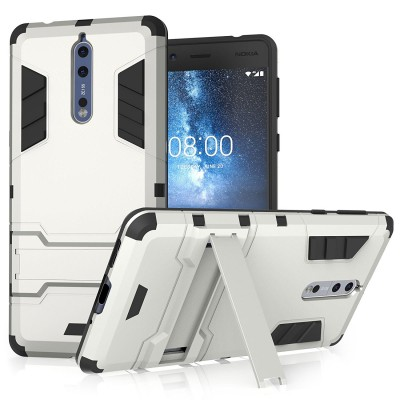Centopi θήκη Armour Combo Stand για Nokia 8 - Silver και δώρο screen protector