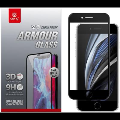 Crong 3D Armor Glass Full Glue - Fullface Tempered Glass Αντιχαρακτικό Γυαλί Οθόνης SE 2020 / 8 / 7 - Black (CRG-3DAG-IPSE2)