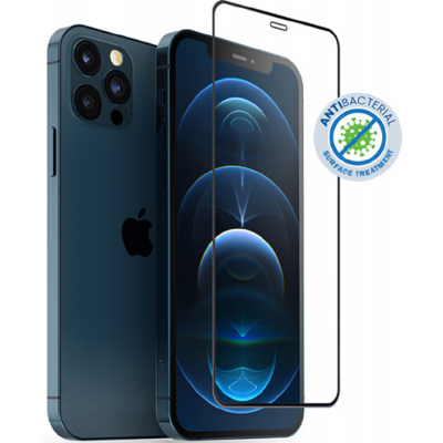 Crong Anti-Bacterial 3D Armor Glass - Fullface Αντιβακτηριδιακό Tempered Glass Apple iPhone 12 / 12 Pro - Black (CRG-AB3DAG-IP61)