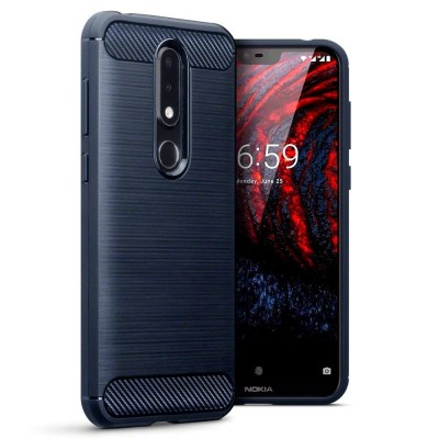 Terrapin Θήκη Σιλικόνης Carbon Fibre Nokia 6.1 Plus - Blue